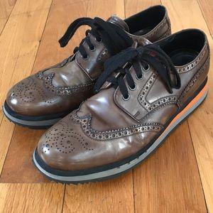 PRADA Men's Brown Patent Leather Sneakers